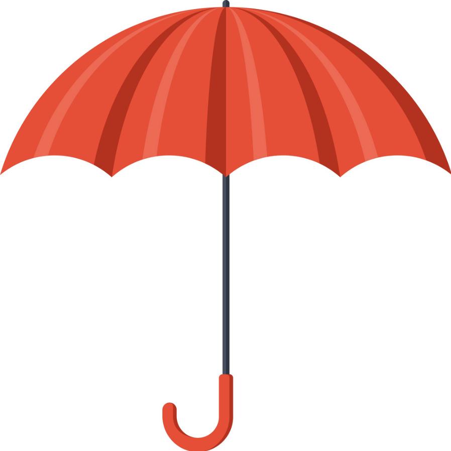cartoonish red umbrella