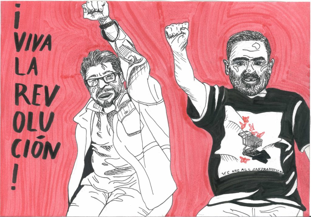 "Two drawn figures representing Housing Justice advocates Jesus and Miguel are depicted against a red background, with the words ""Viva La Revolucion!"". Image by Tee Hoatson"