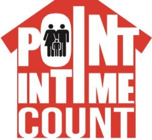 """A red house contains the words """"Point In Time Count"""" with a family silhouetted within the letter """"O"""""""